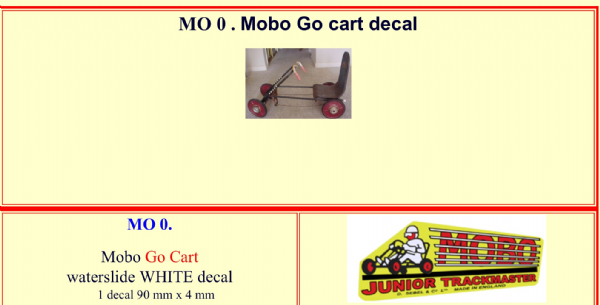 MO0 Mobo Go Kart ( Go Cart ) Junior Trackmaster decal